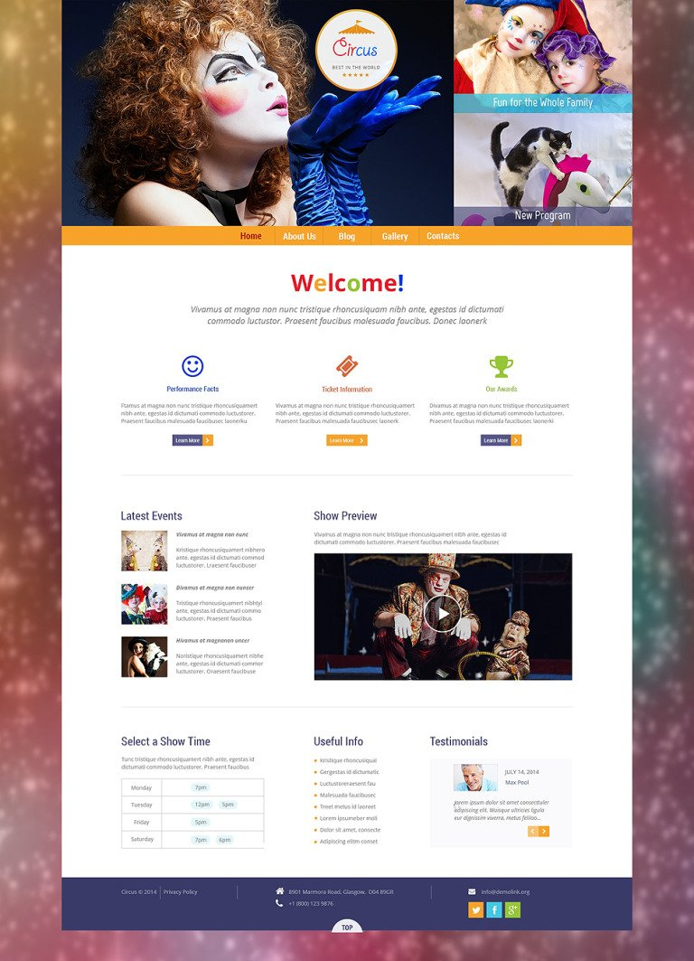 Circus Wonders WordPress Theme New Screenshots BIG