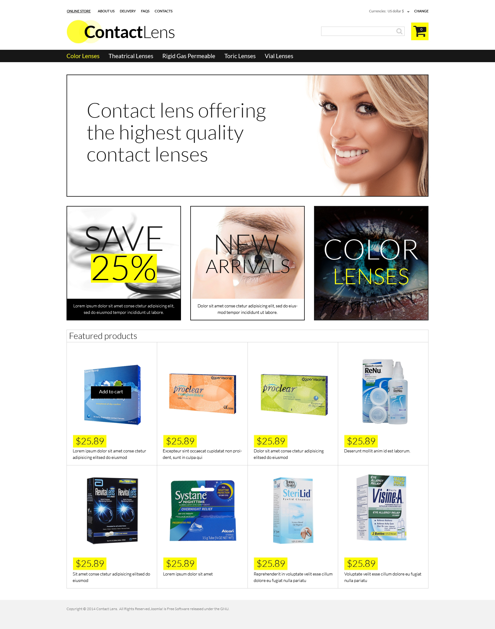 Contact Lens Store VirtueMart Template - screenshot