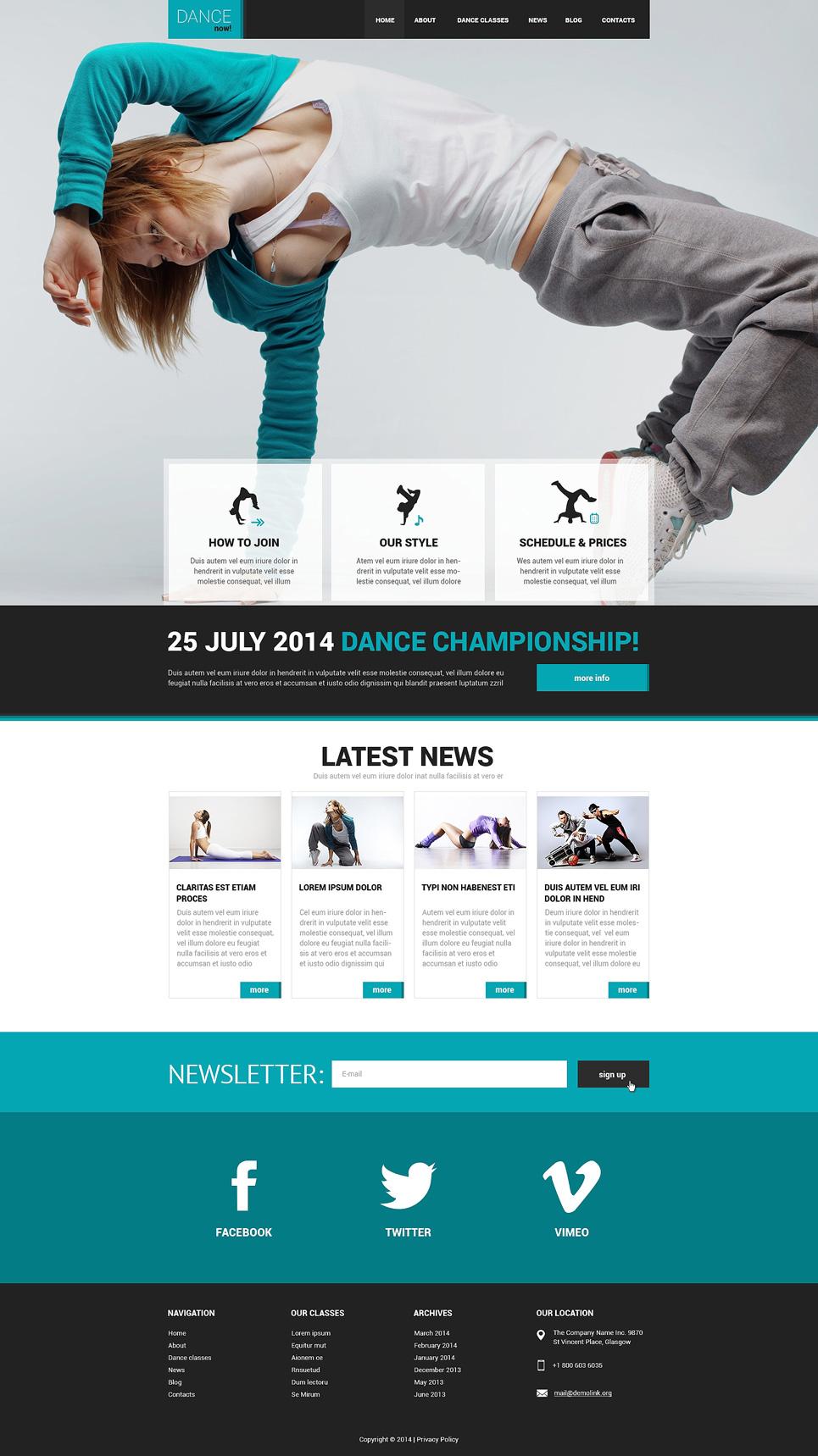 Dance Studio Responsive Website Template 50542