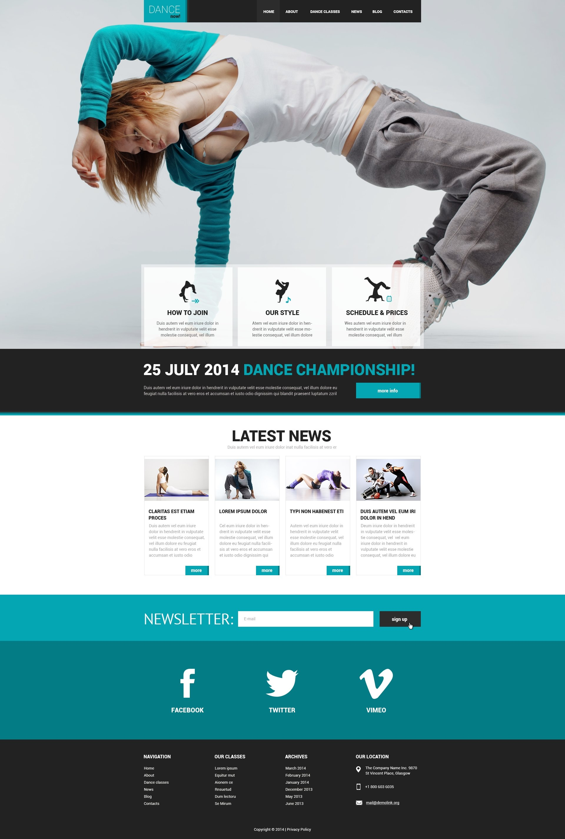 618be12f253 Dance Studio Responsive Website Template  50542