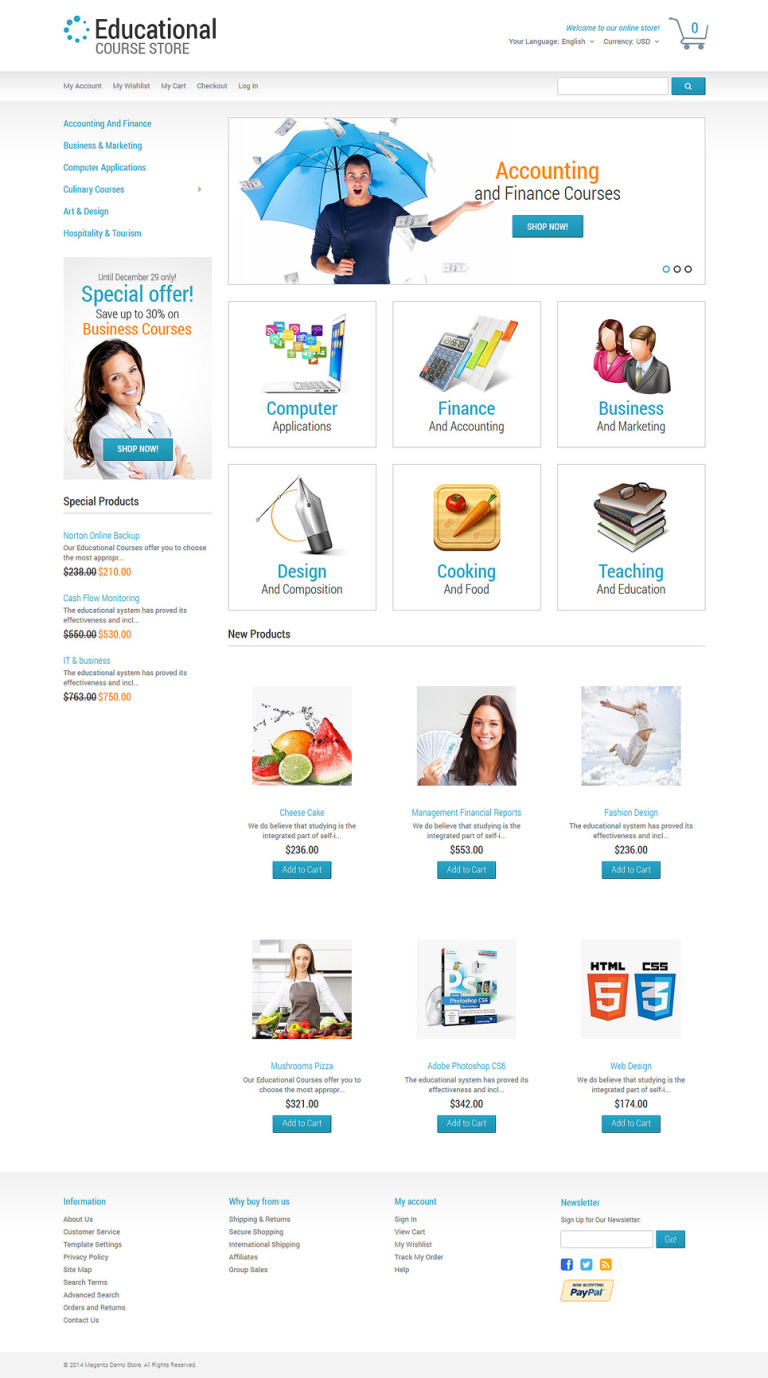 Education Responsive Magento Theme New Screenshots BIG