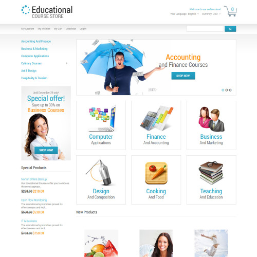 Education Course Store - Responsive Magento Template