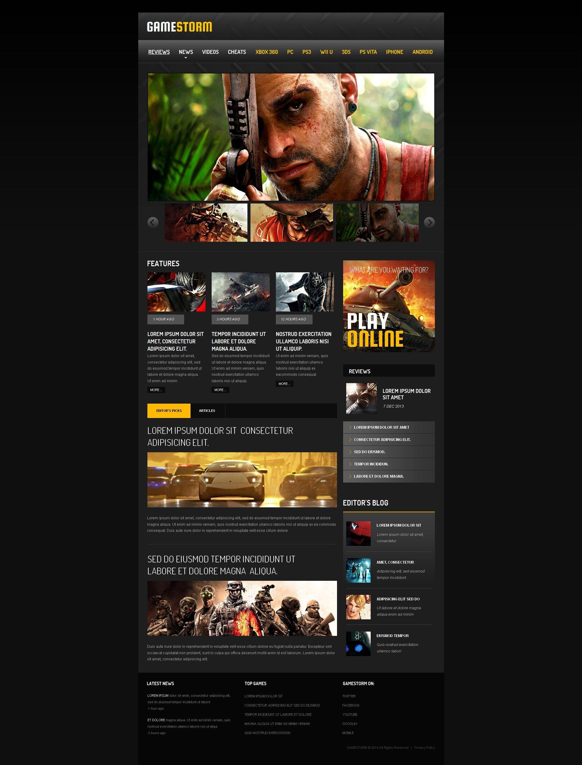 Games Moto CMS HTML Template - screenshot