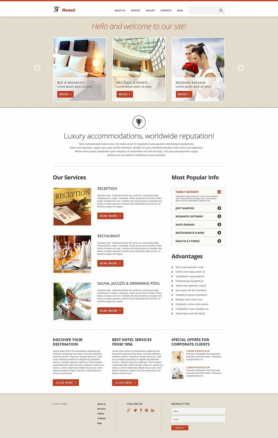 Hotels responsive joomla template 50591 for Joomla hotel template