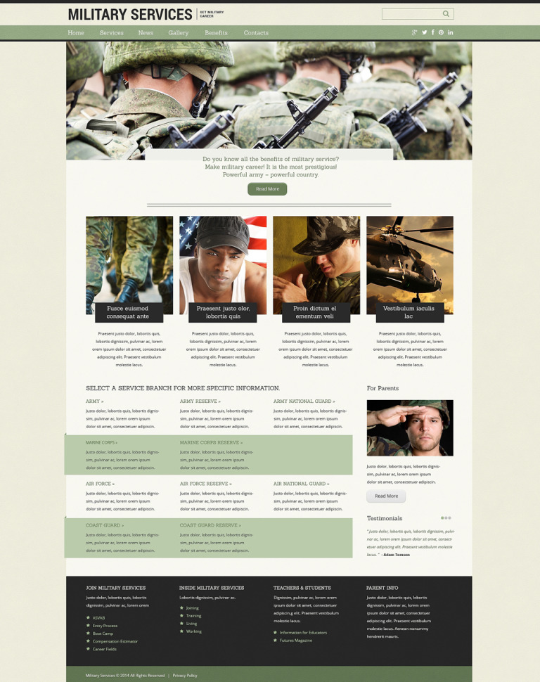 Military Drupal Template New Screenshots BIG
