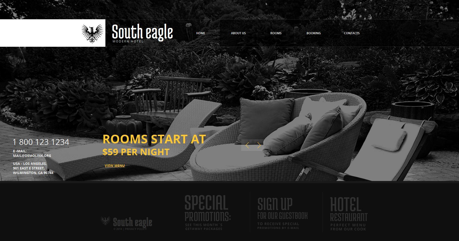 Modèle Moto CMS HTML Premium pour site d'hôtel #50565