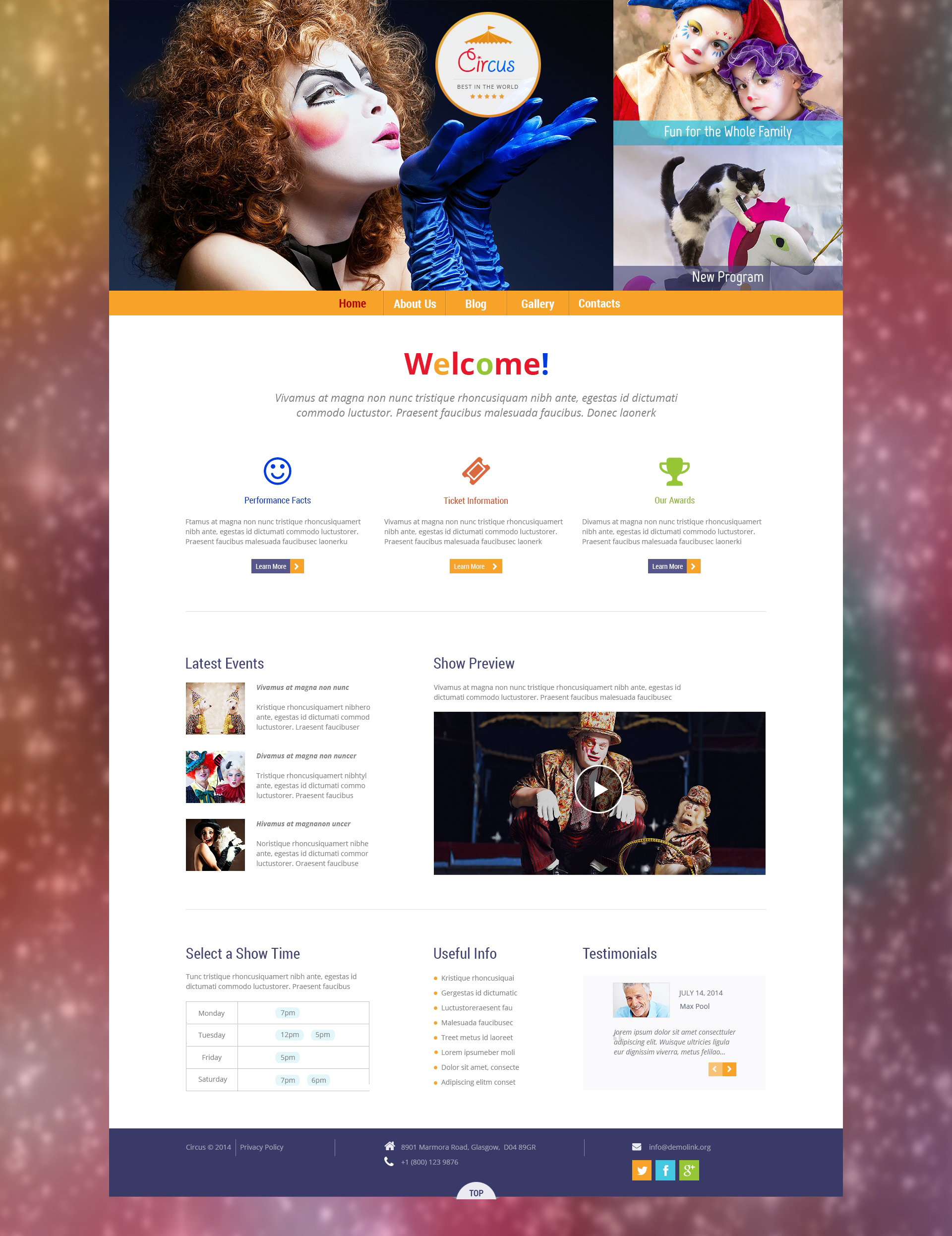 "Modello WordPress Responsive #50531 ""Circus Wonders"""