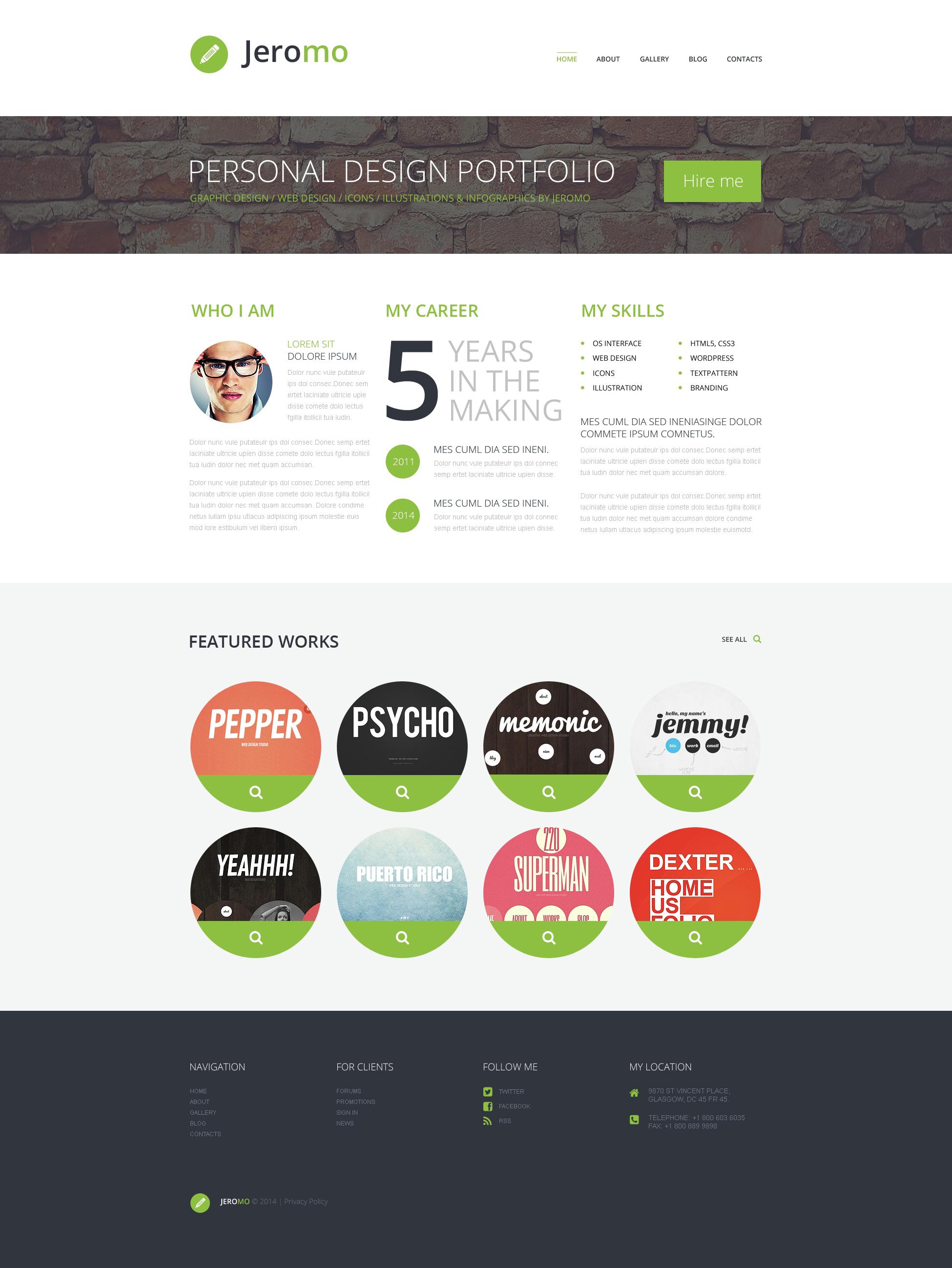 "Modello WordPress Responsive #50534 ""Personal Design Portfolio"" - screenshot"
