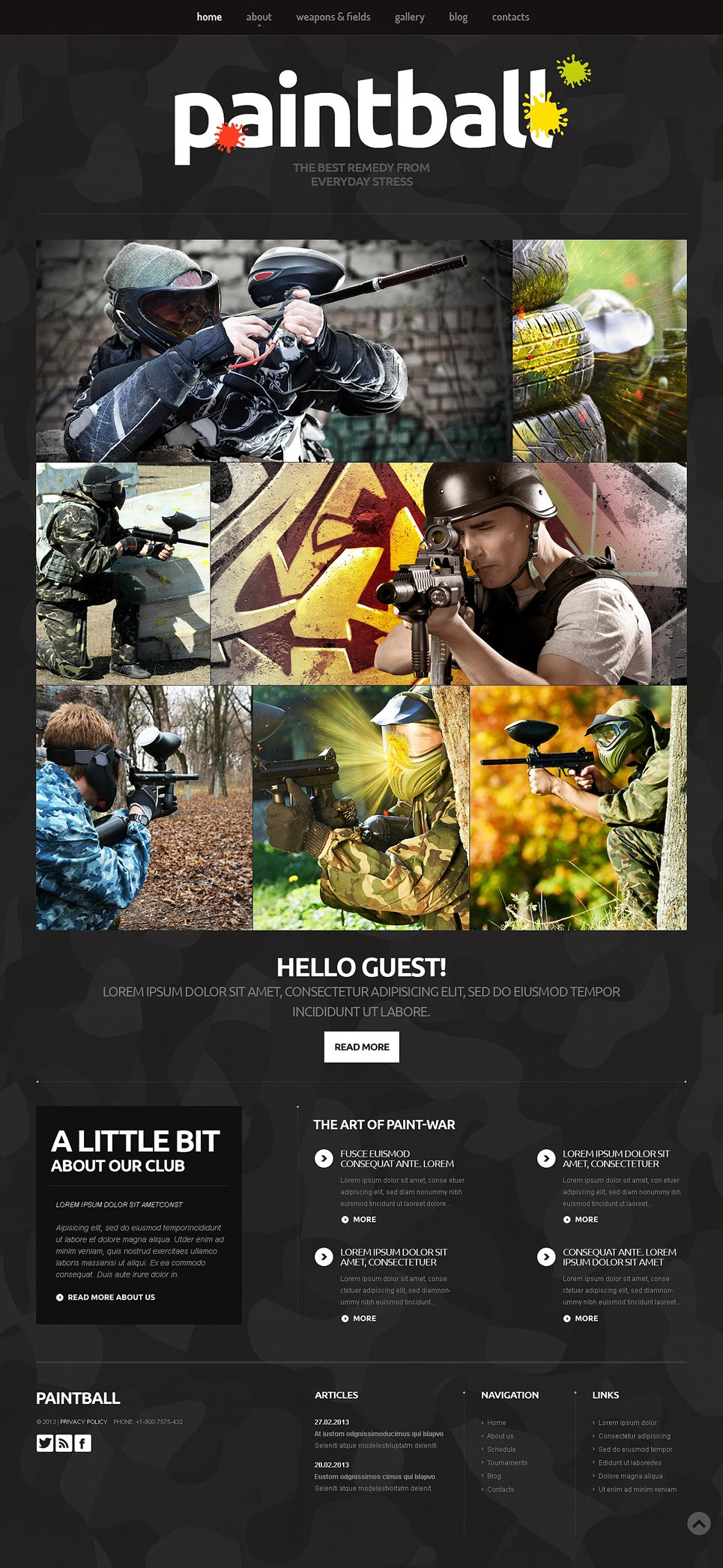 Clean Paintball Website Design