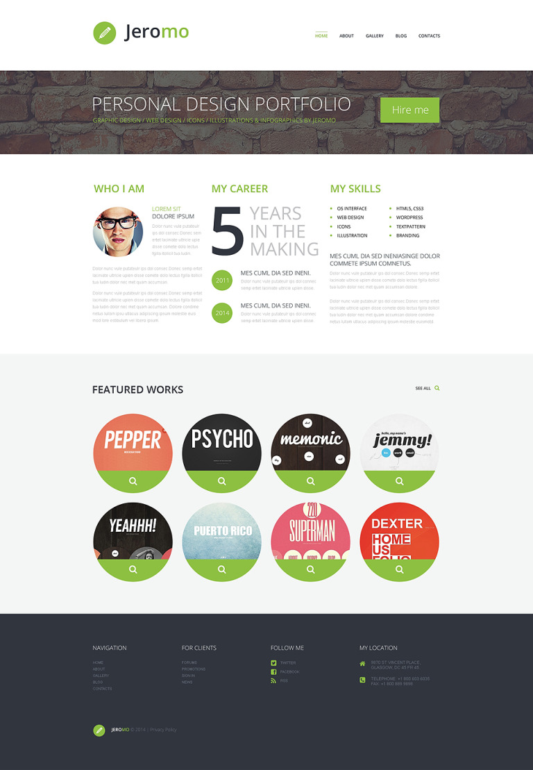 Personal Design Portfolio WordPress Theme New Screenshots BIG