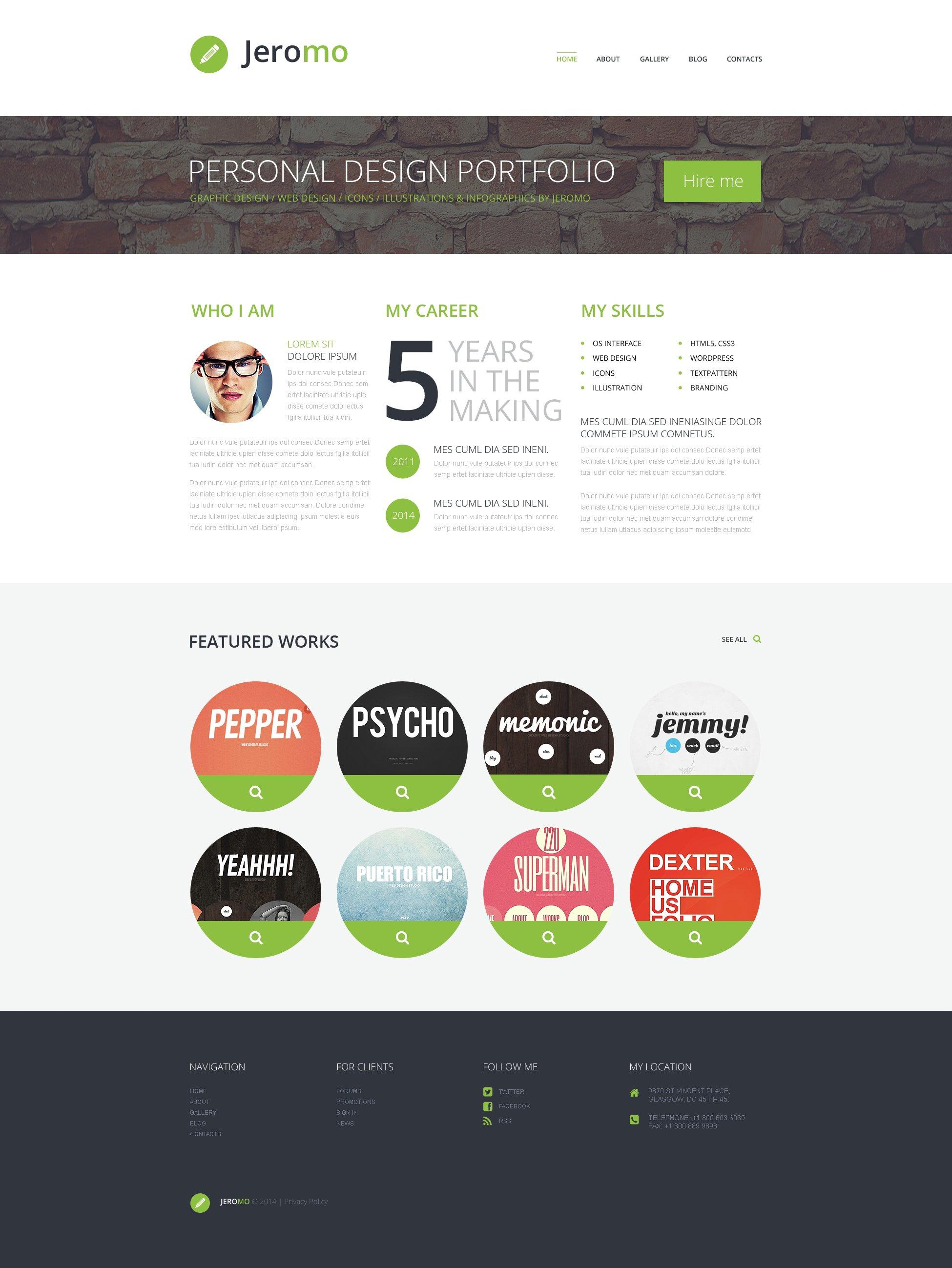 Personal Design Portfolio WordPress Theme #50534