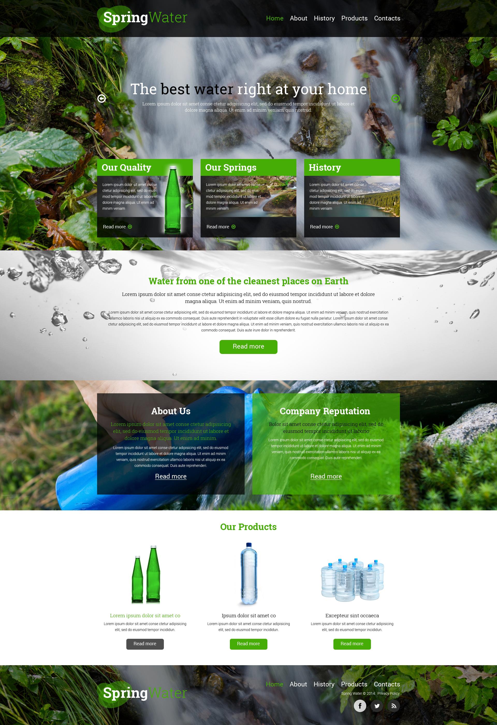 Plantilla Web Responsive para Sitio de Agua #50518