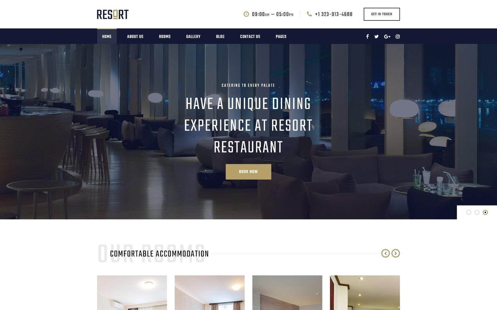 """Resort - Hotel Multipage Modern HTML Bootstrap"" - адаптивний Шаблон сайту №50553"