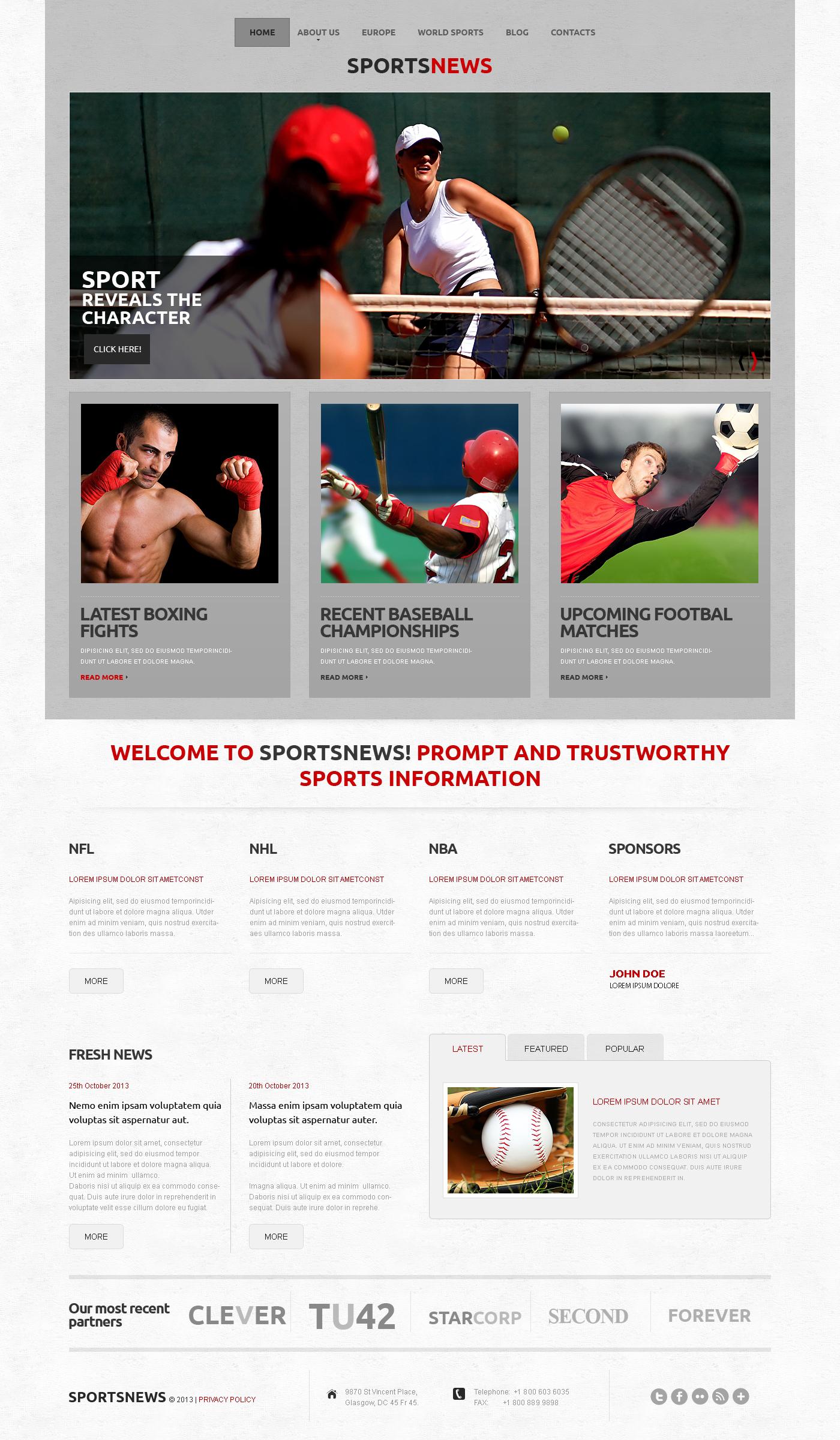 Responsives WordPress Theme für Sportnachrichten #50502