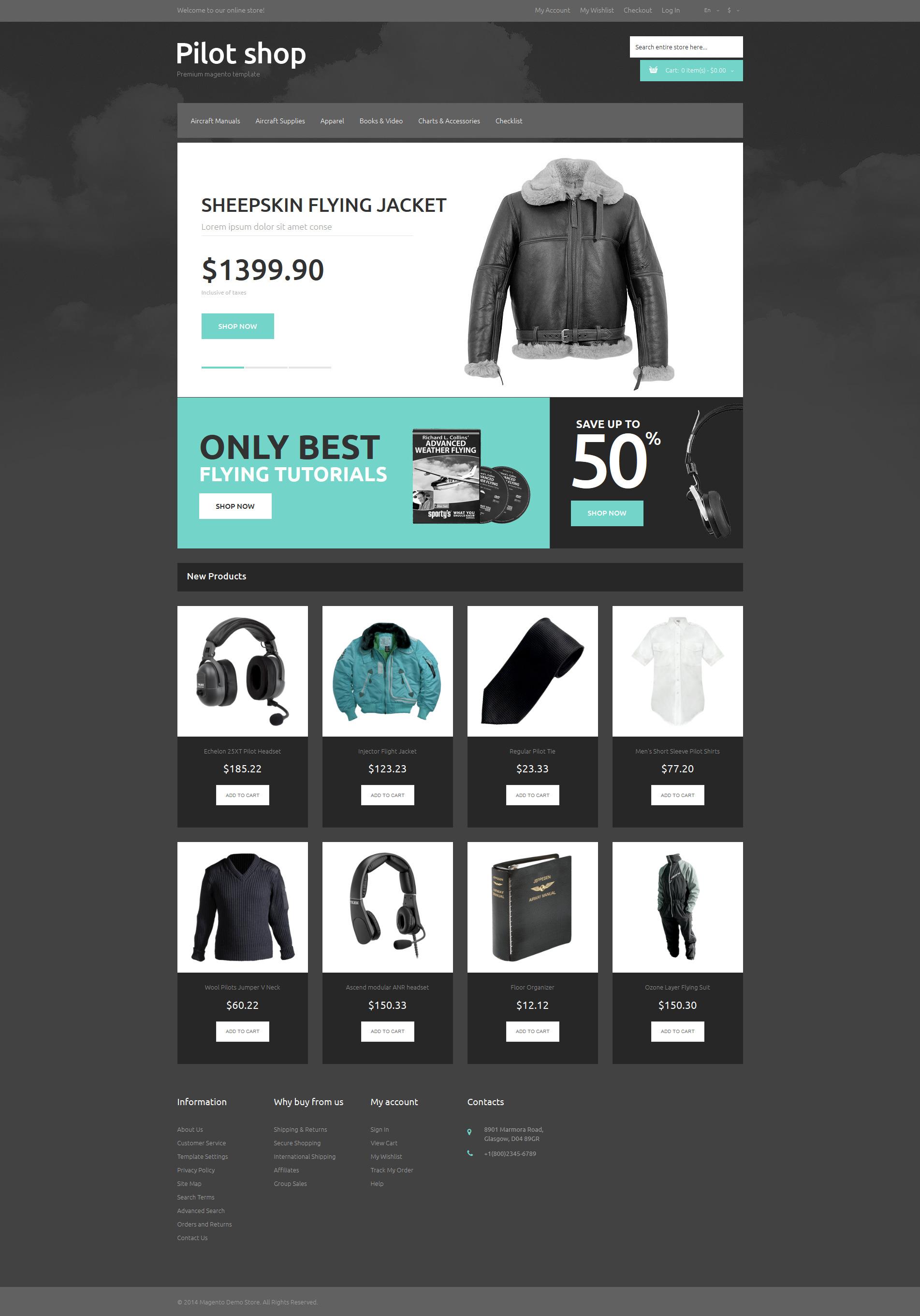 Reszponzív Online Pilot Store Magento sablon 50550 - képernyőkép