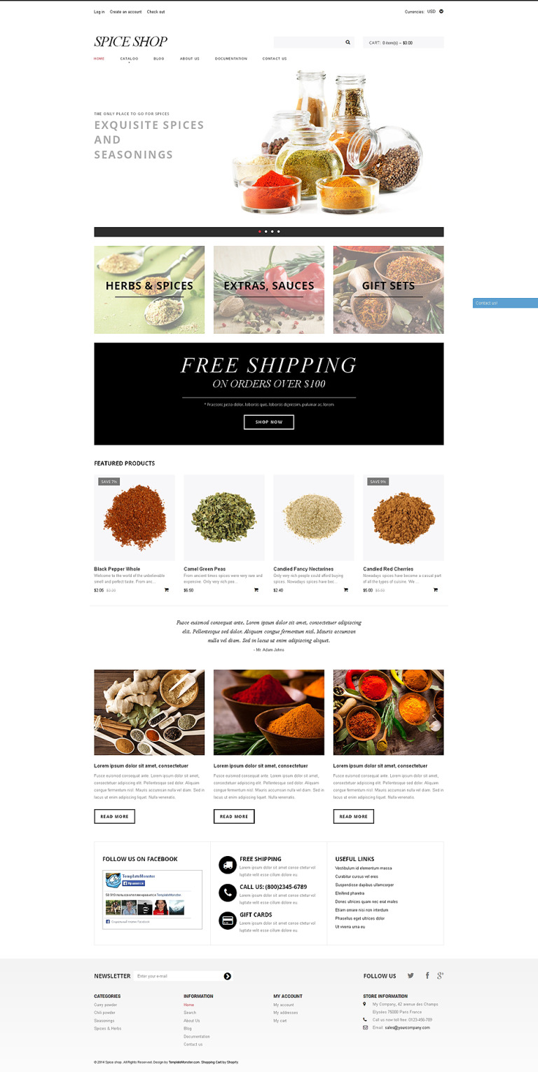 Spice Shop Responsive Shopify Theme New Screenshots BIG