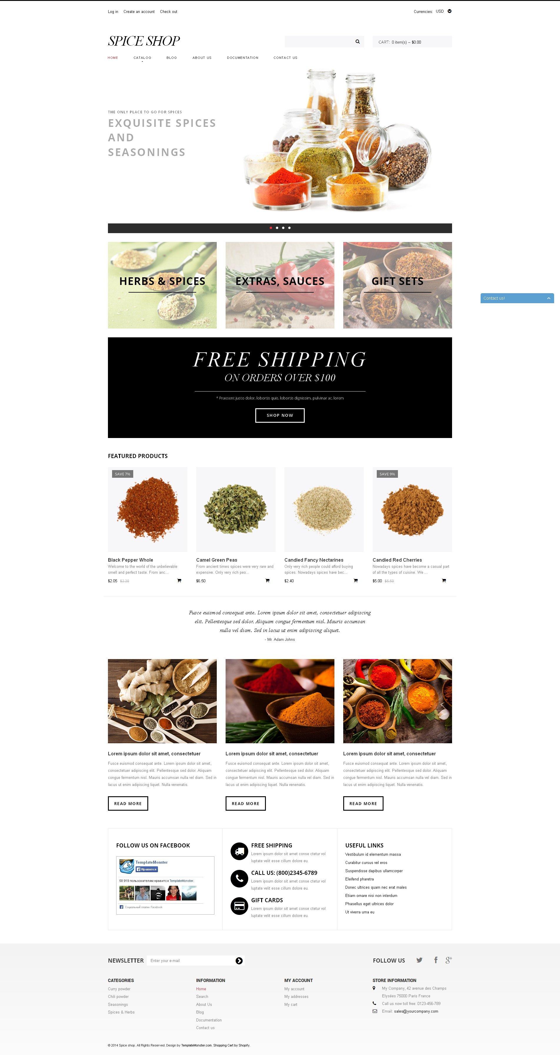 Spice Shop Responsive Shopify Theme - screenshot