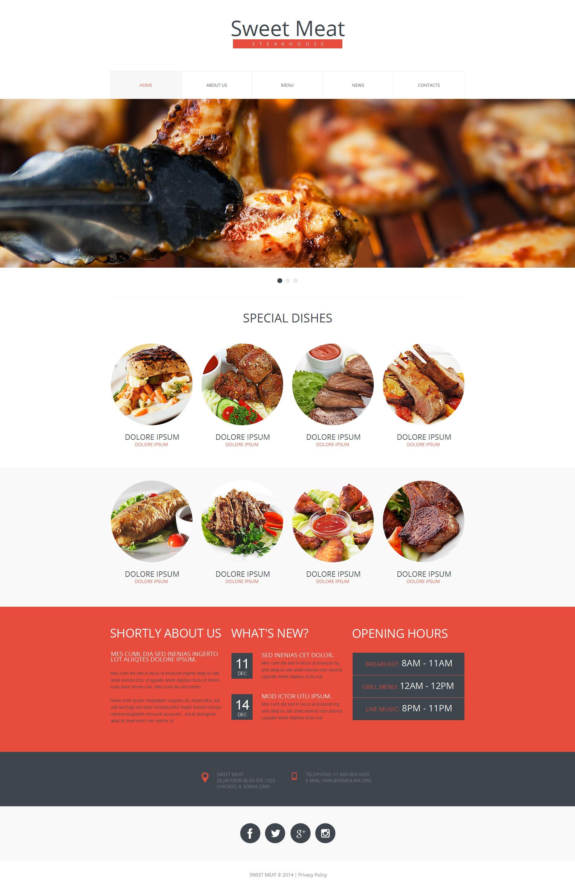 Tema Moto CMS HTML #50556 per Un Sito di Steak House
