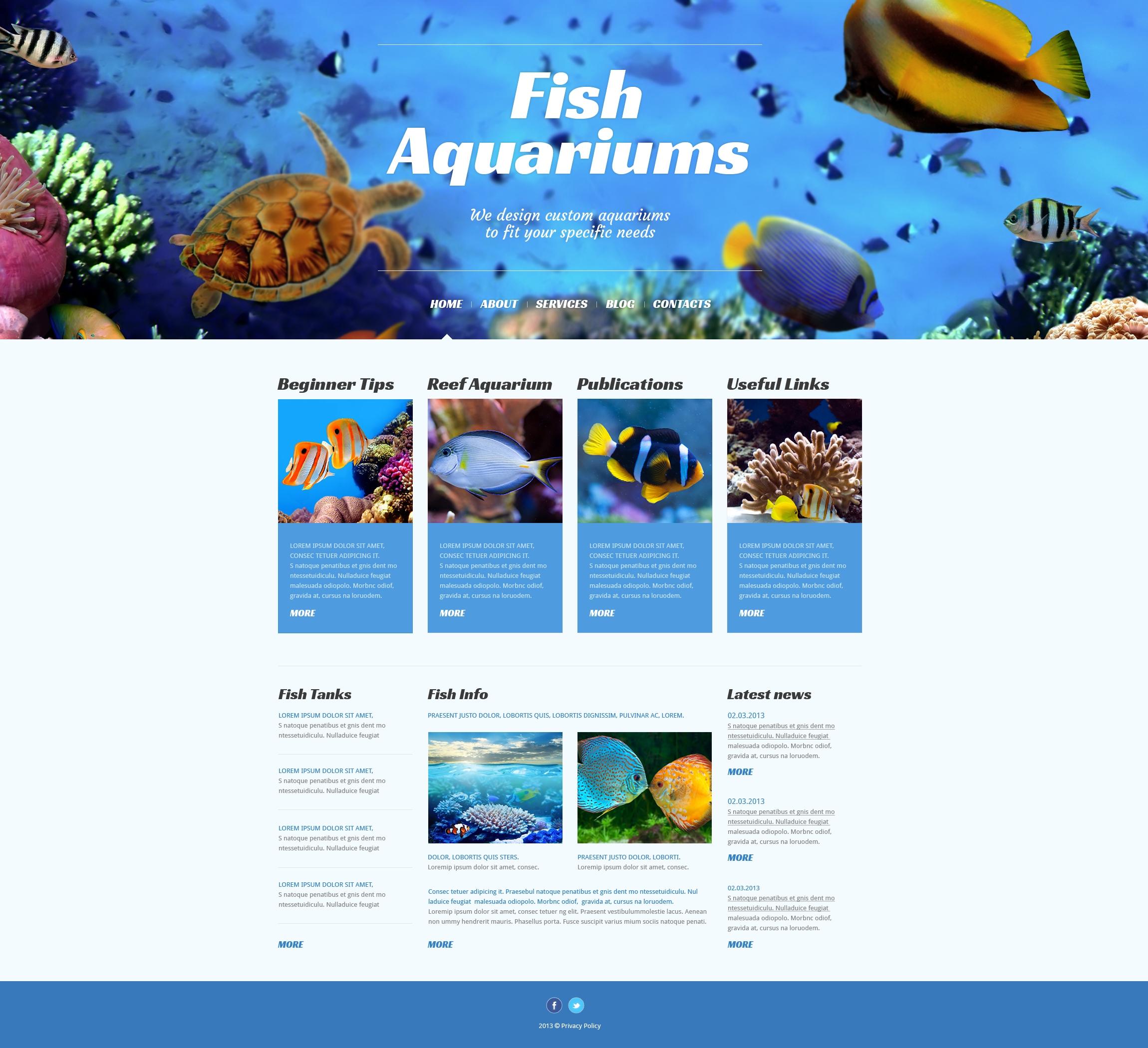 Thème WordPress adaptatif pour sites de poissons #50525