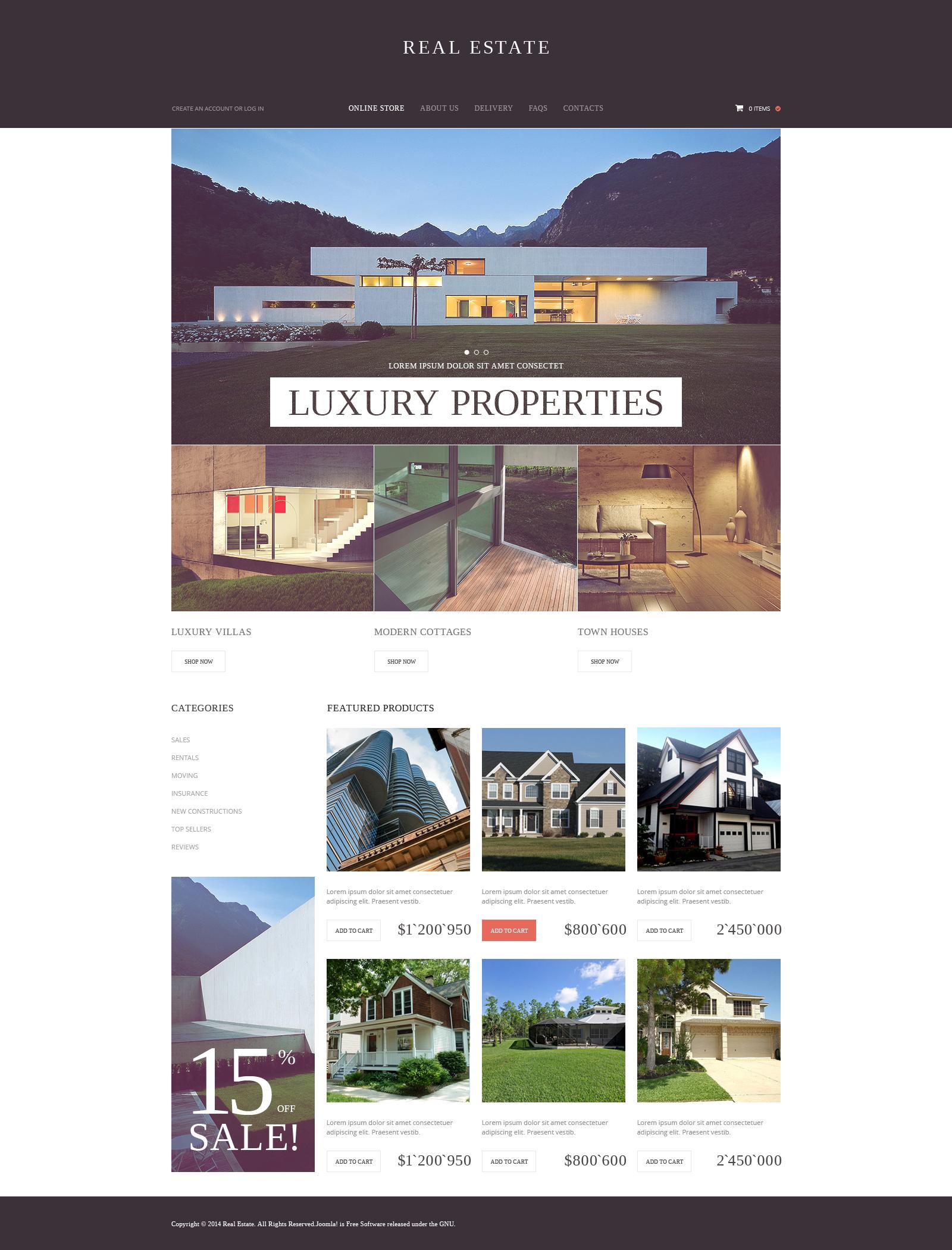 VirtueMart шаблон №50537 на тему агентство недвижимости
