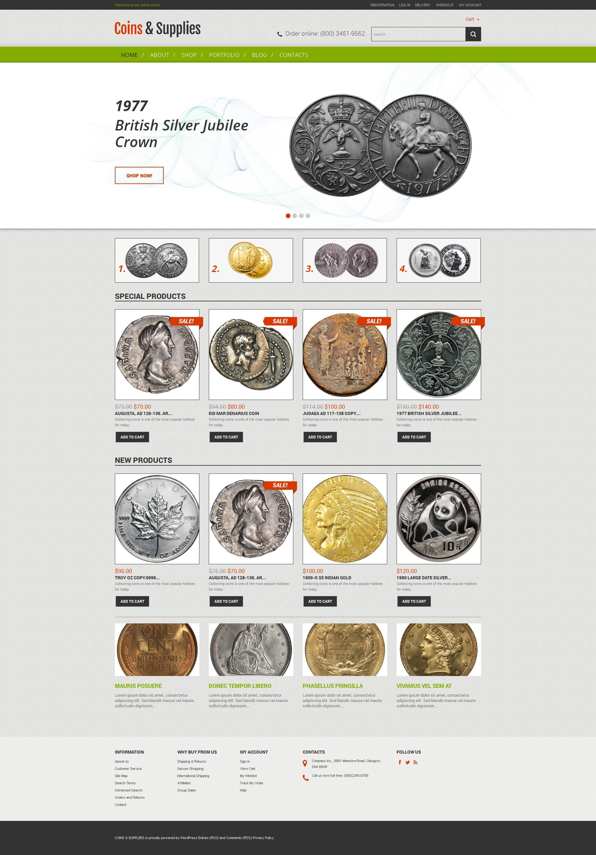 """WooCommerce Theme namens """"Rarity Coins"""" #50554 - Screenshot"""