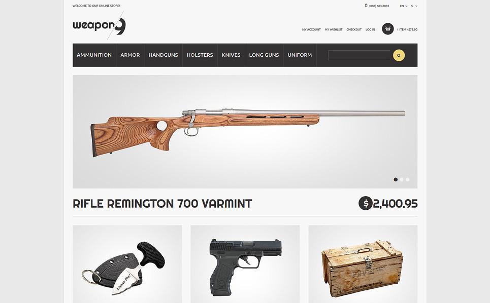 Reszponzív Fegyverszaküzlet Magento sablon New Screenshots BIG