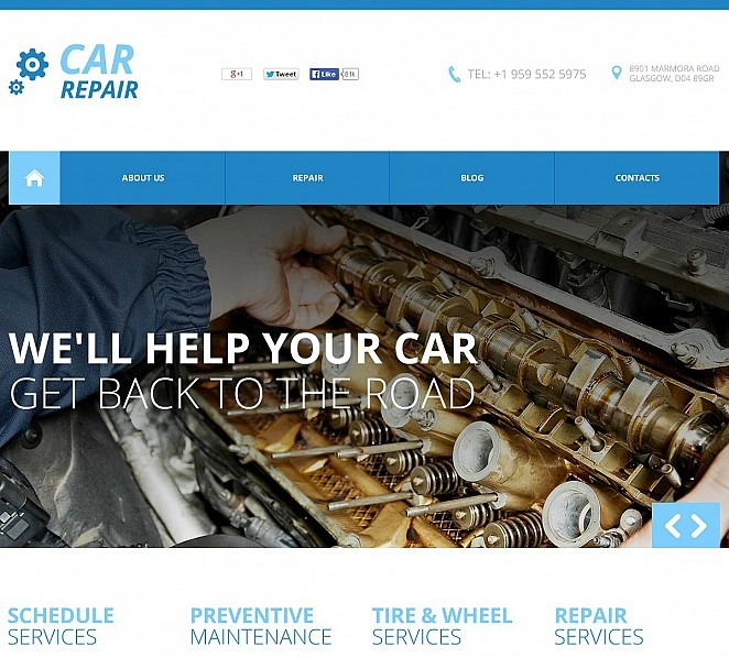 Flash CMS Vorlage für Autoreparatur  New Screenshots BIG