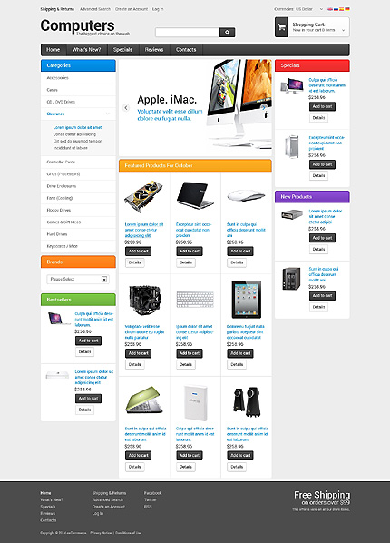 osCommerce Template 50672 Main Page Screenshot