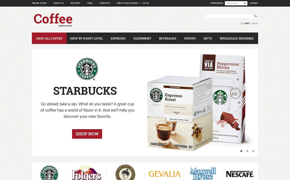 VirtueMart šablona Coffeeshop New Screenshots BIG
