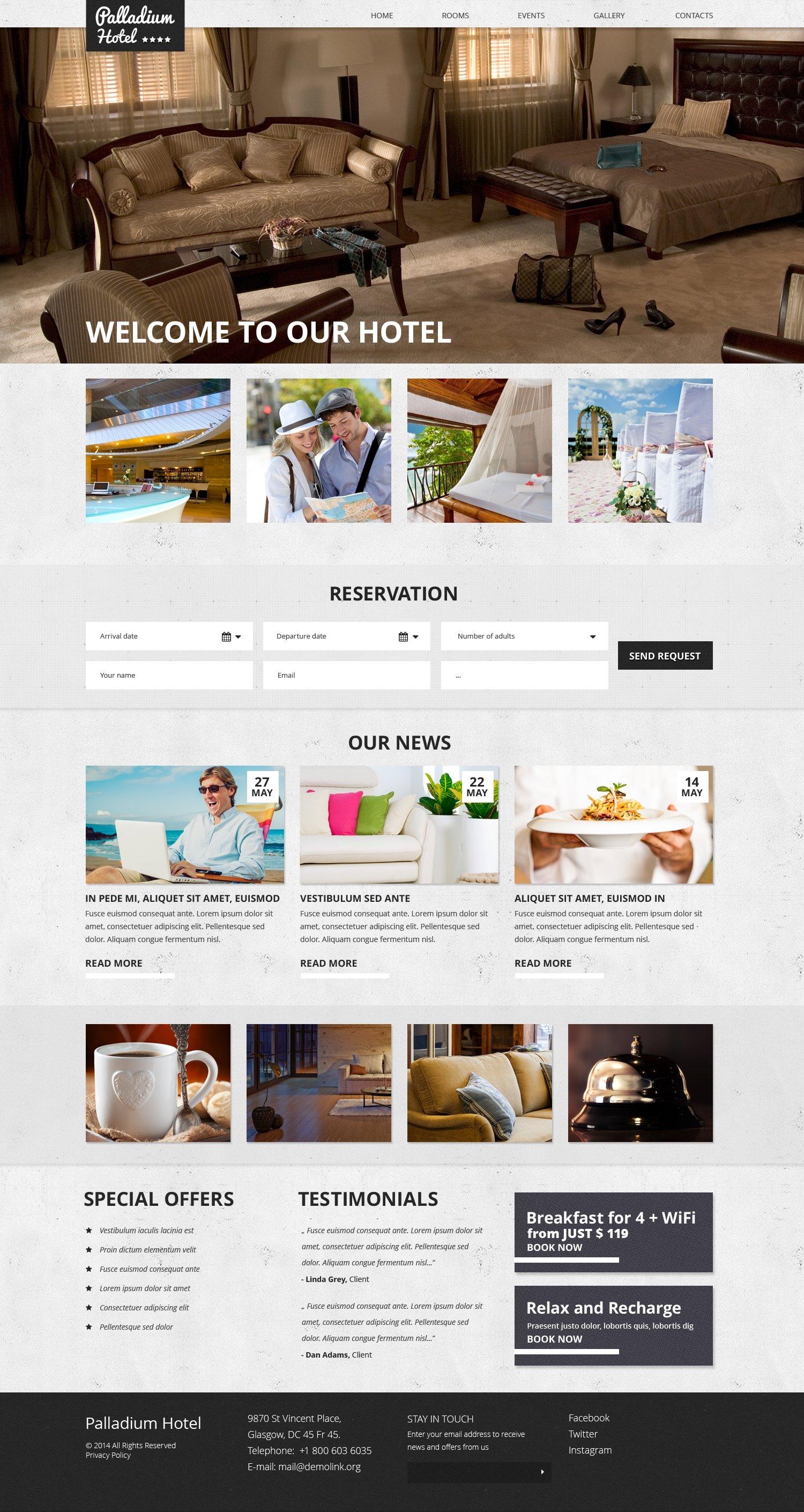 Адаптивний Шаблон сайту на тему готелі №50639 - скріншот