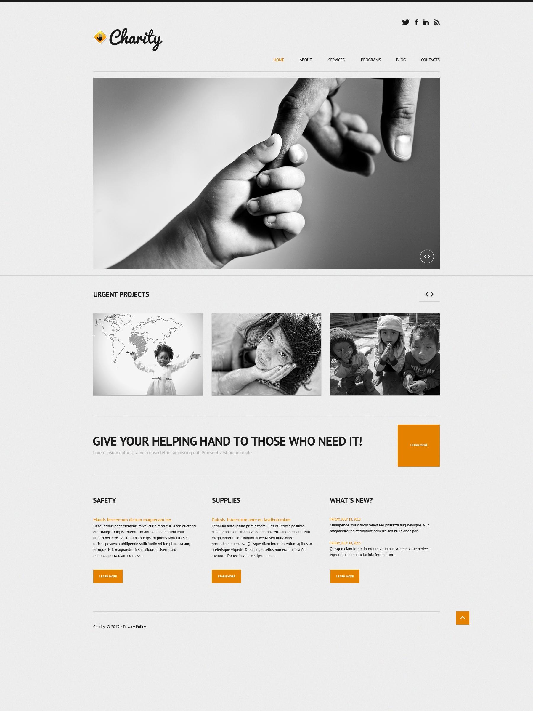 Адаптивный WordPress шаблон №50611 на тему детская благотворительность