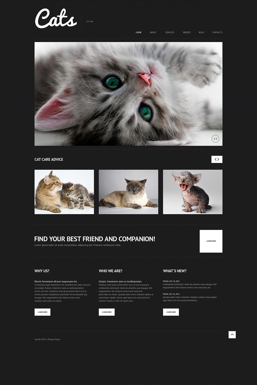 Адаптивный шаблон сайта на тему кошки #50613