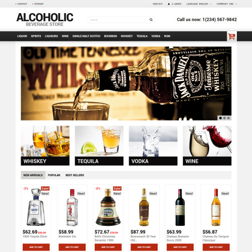 Alcoholic Beverage Store - PrestaShop Template based on Bootstrap