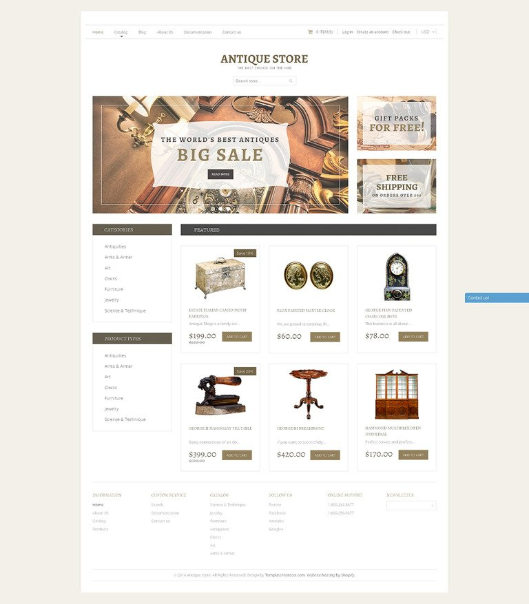 Antique Store Responsive Shopify Theme New Screenshots BIG