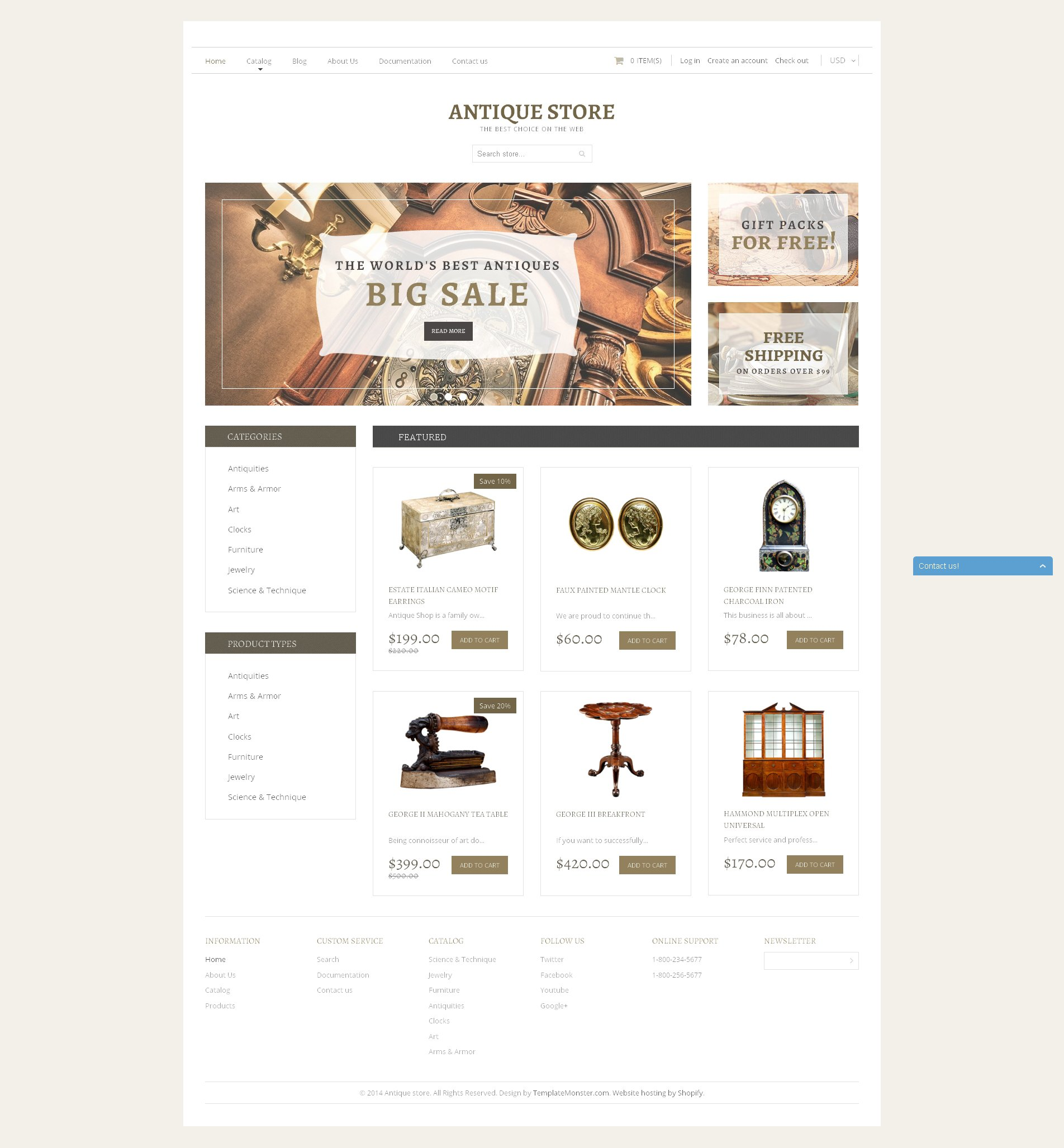 Antique store responsive shopify theme 50624 for Free shopify templates