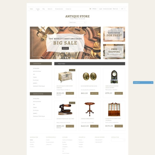 Antique Store - Shopify Template based on Bootstrap