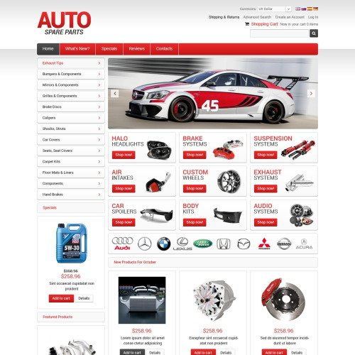 Auto Spare Parts - osCommerce Template