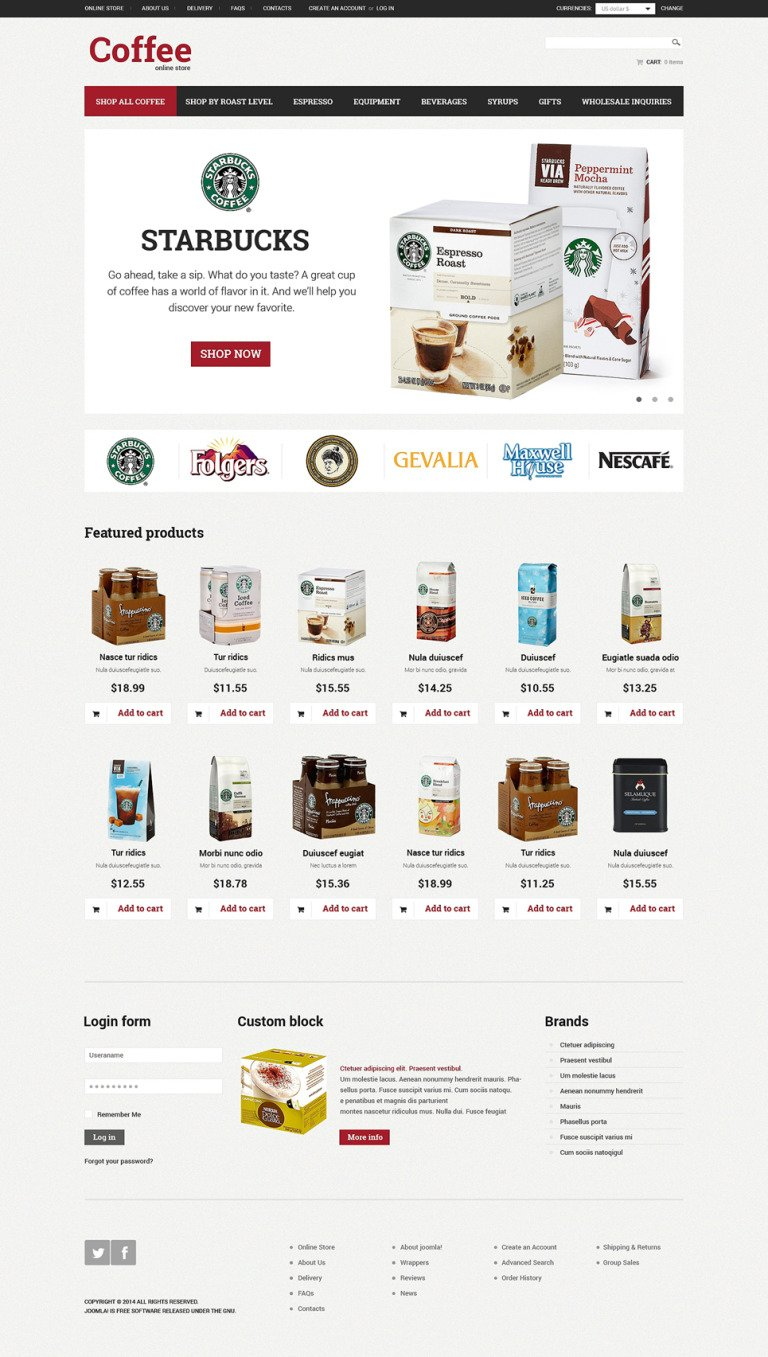 Coffee Shop VirtueMart Template New Screenshots BIG
