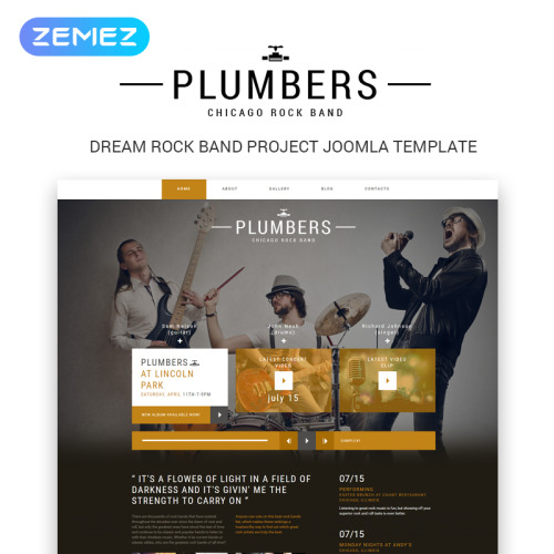 Plumbers - Joomla! Rock Band Template based on Bootstrap