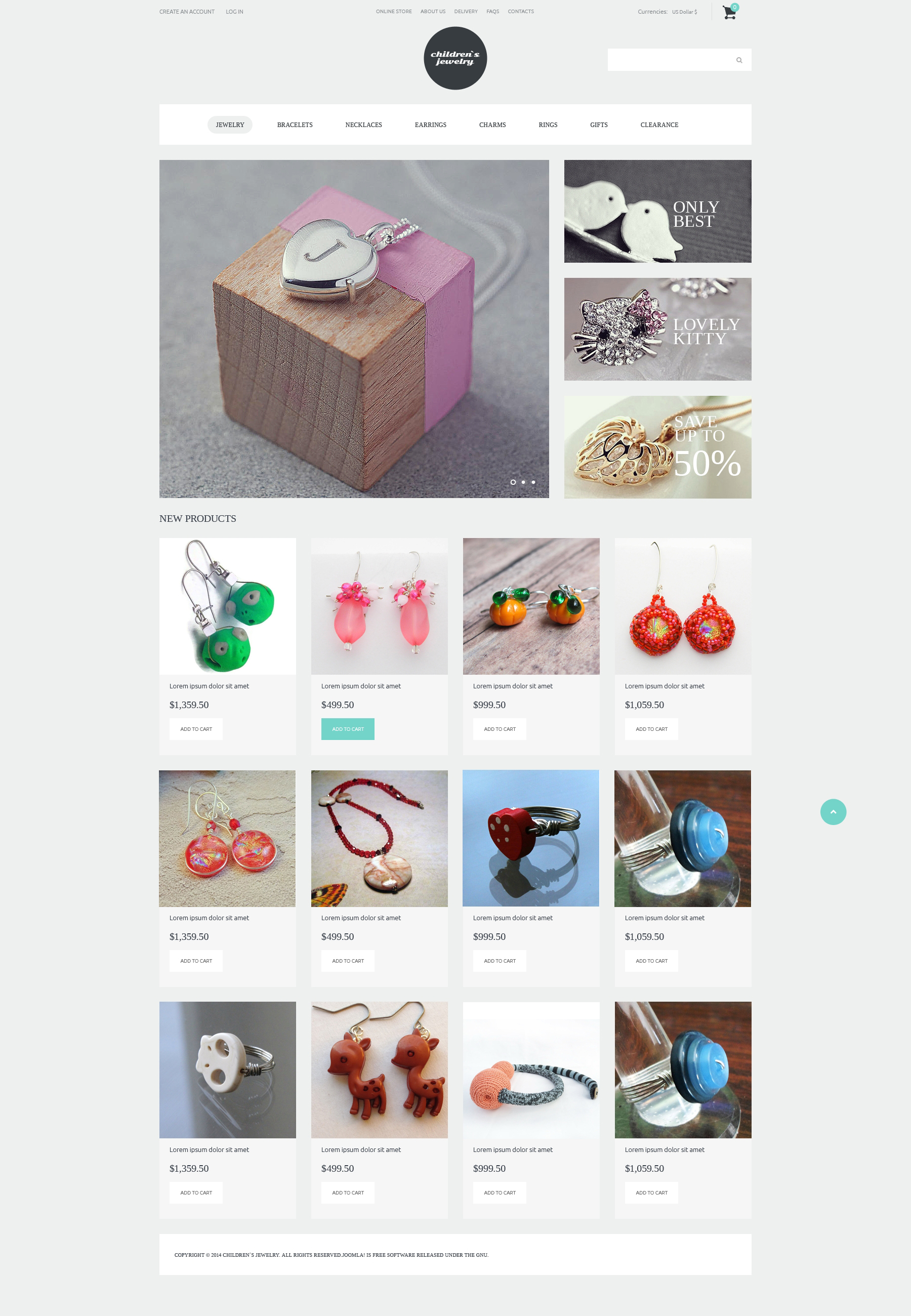 """Fashionista Jewelry"" VirtueMart Template №50695 - screenshot"