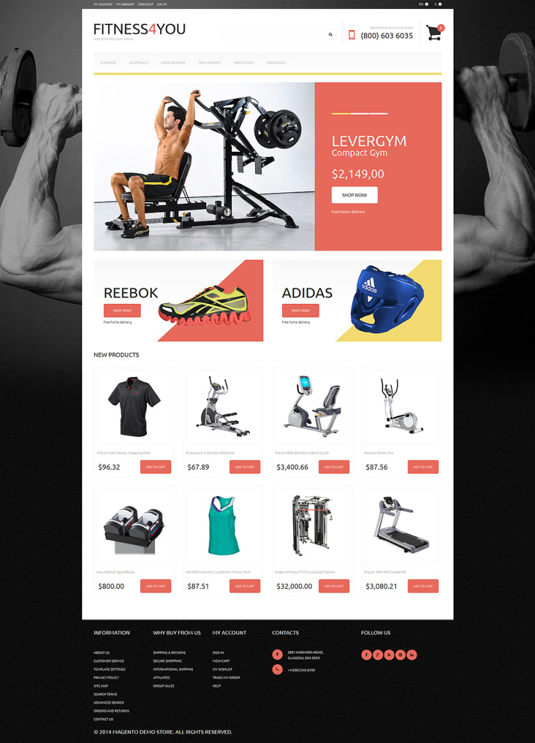 Fitness Responsive Magento Theme New Screenshots BIG