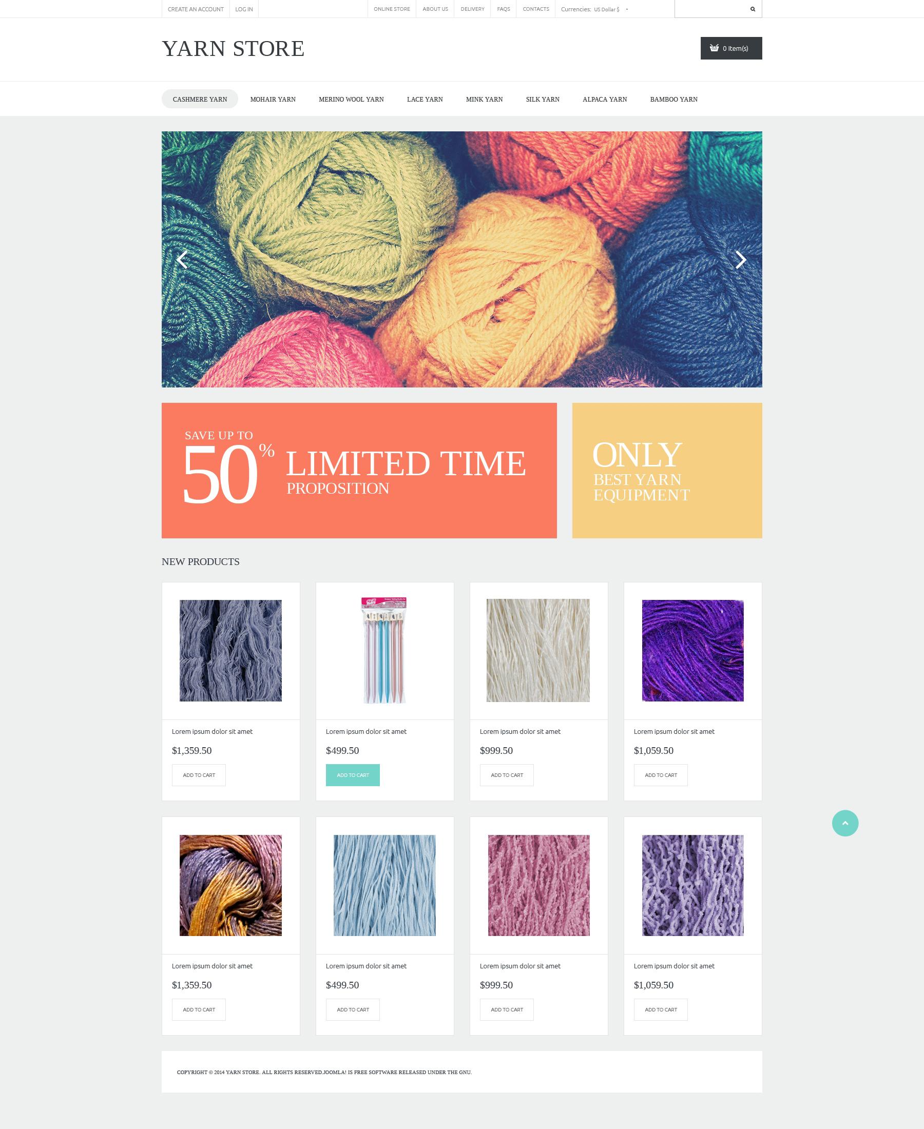 """""""Handiwork Yarn"""" - VirtueMart шаблон №50694"""
