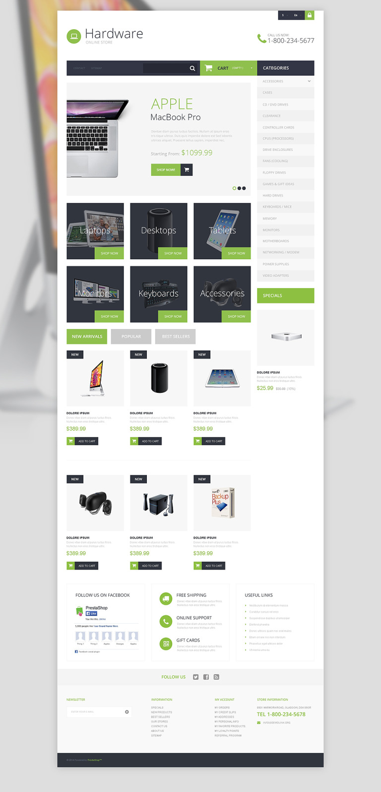 Hardware Provider Company PrestaShop Theme New Screenshots BIG