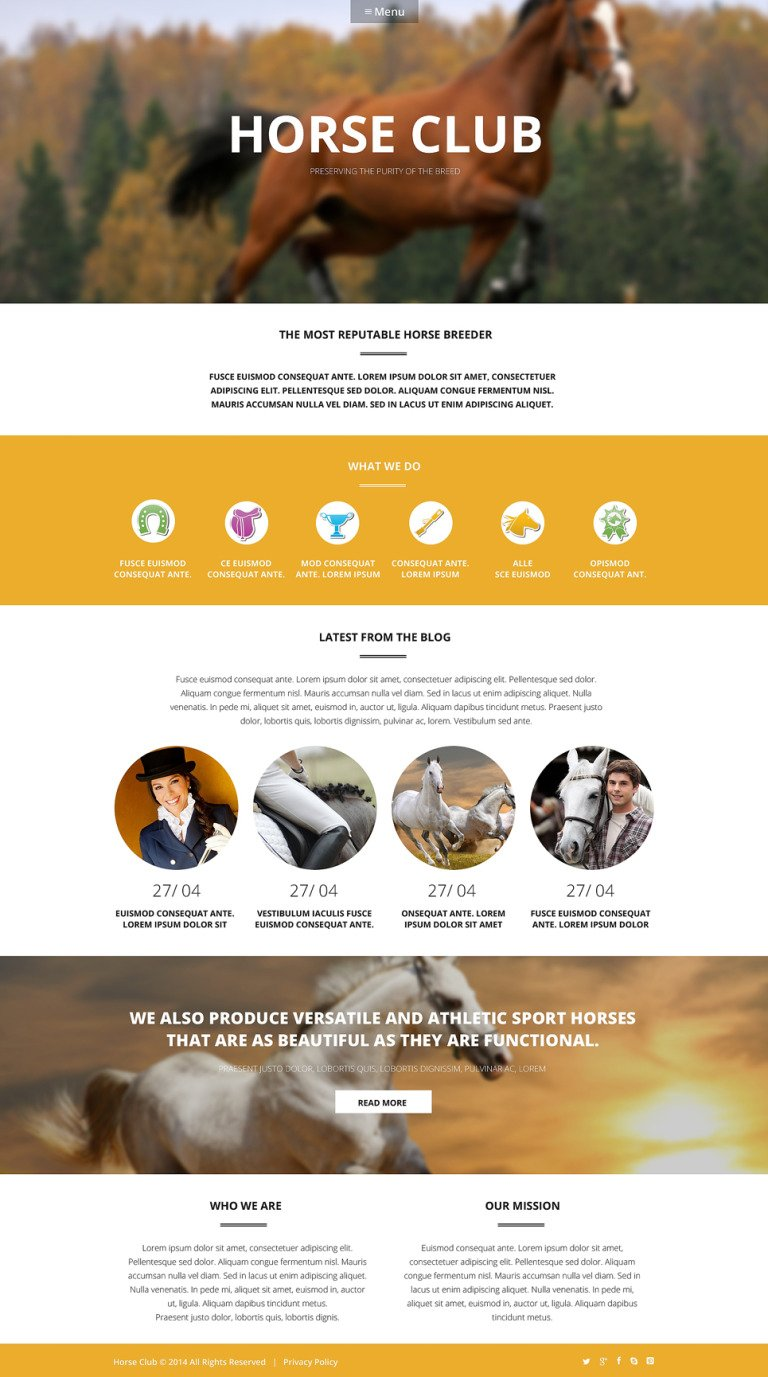 Luxury Horse Breed Care WordPress Theme New Screenshots BIG