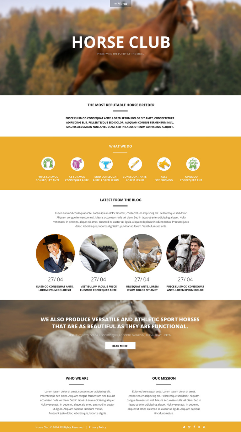 Luxury Horse Breed Care WordPress Theme New Screenshots BIG
