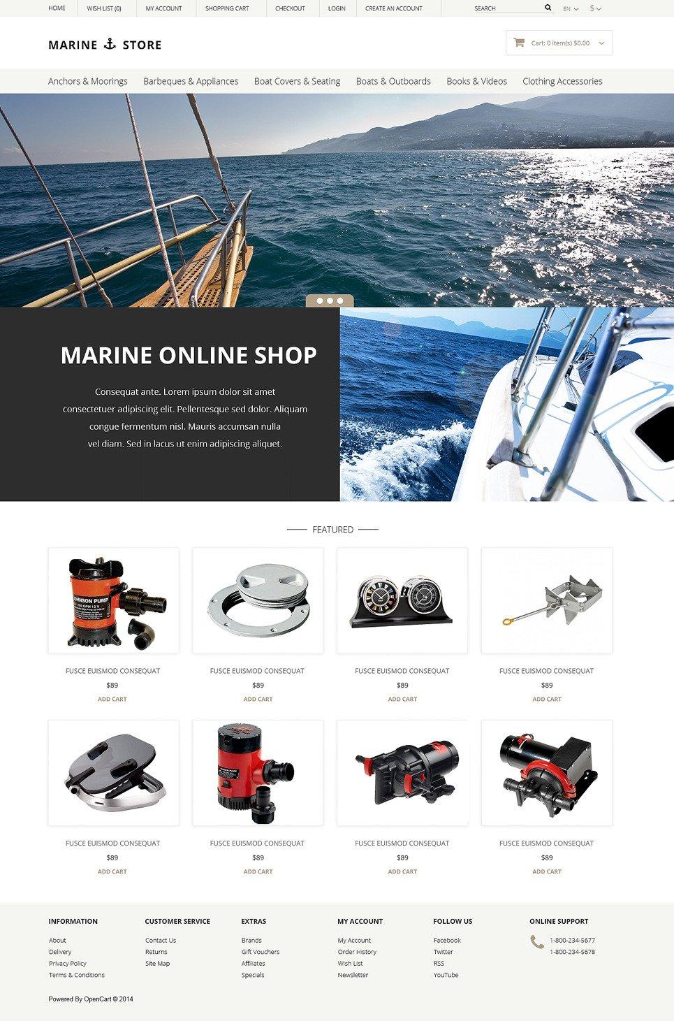 Marine Thrill OpenCart Template New Screenshots BIG