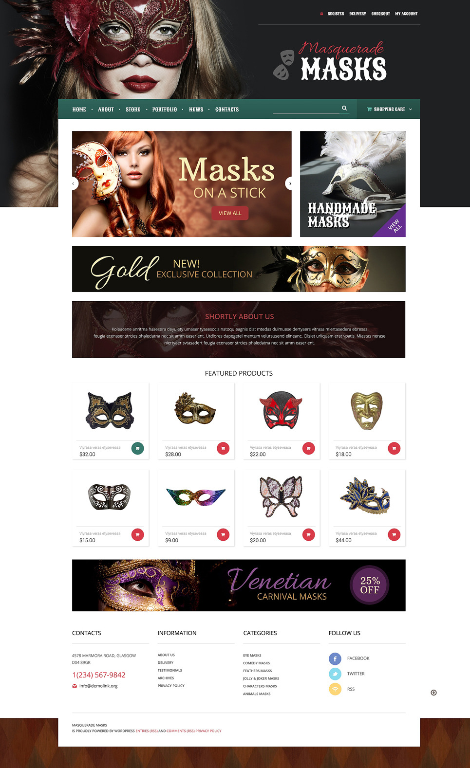 Masquerade Mask WooCommerce Theme New Screenshots BIG