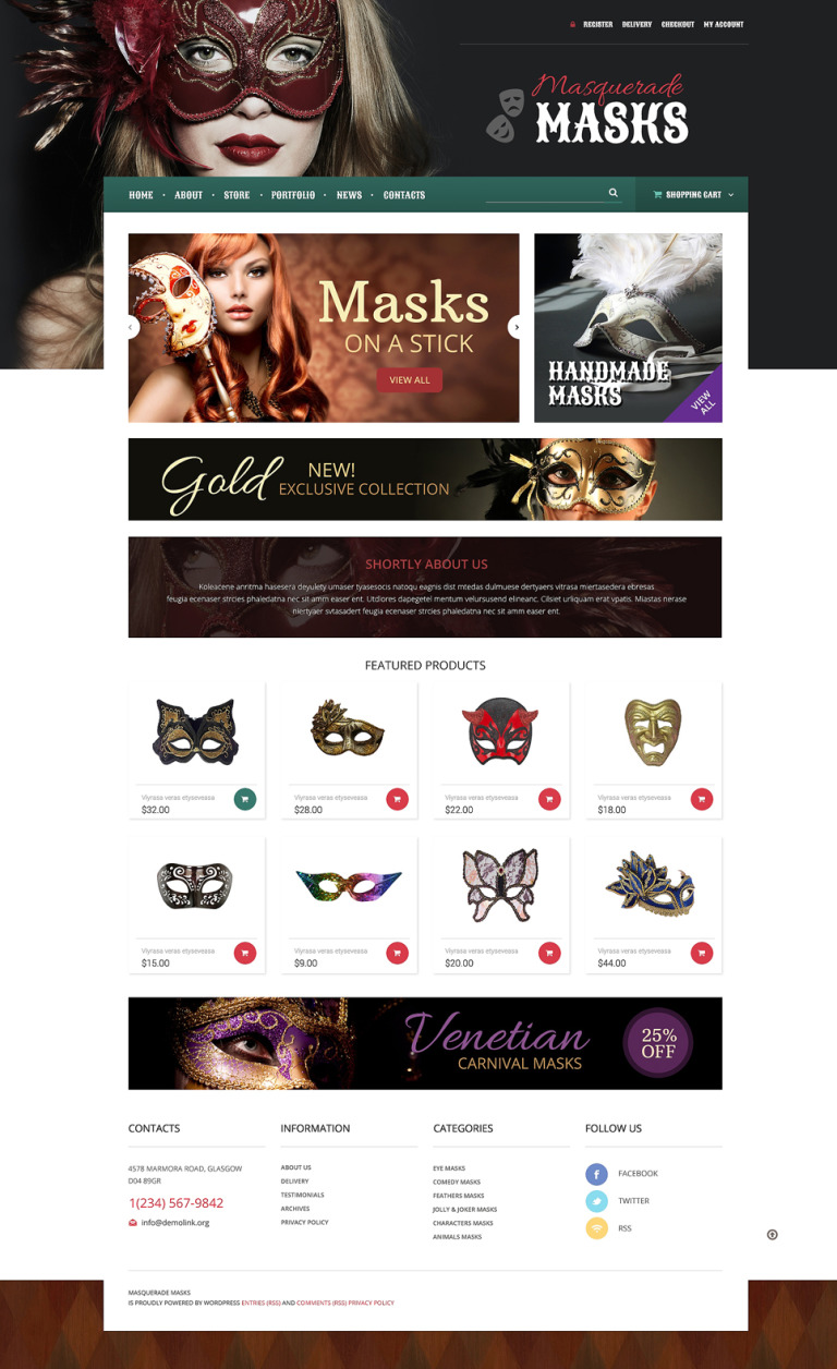 Masquerade Mask WooCommerce Theme New Screenshots BIG