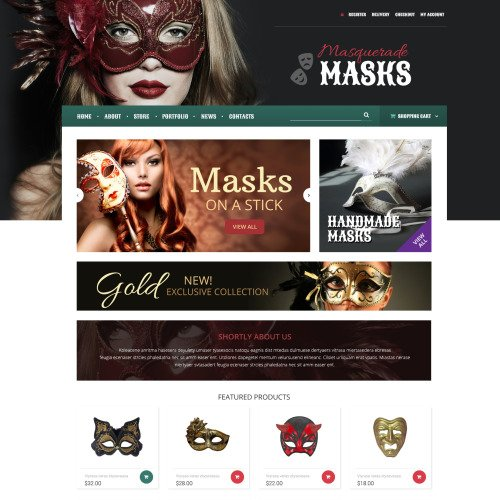 Masquerade Masks - WooCommerce Template based on Bootstrap