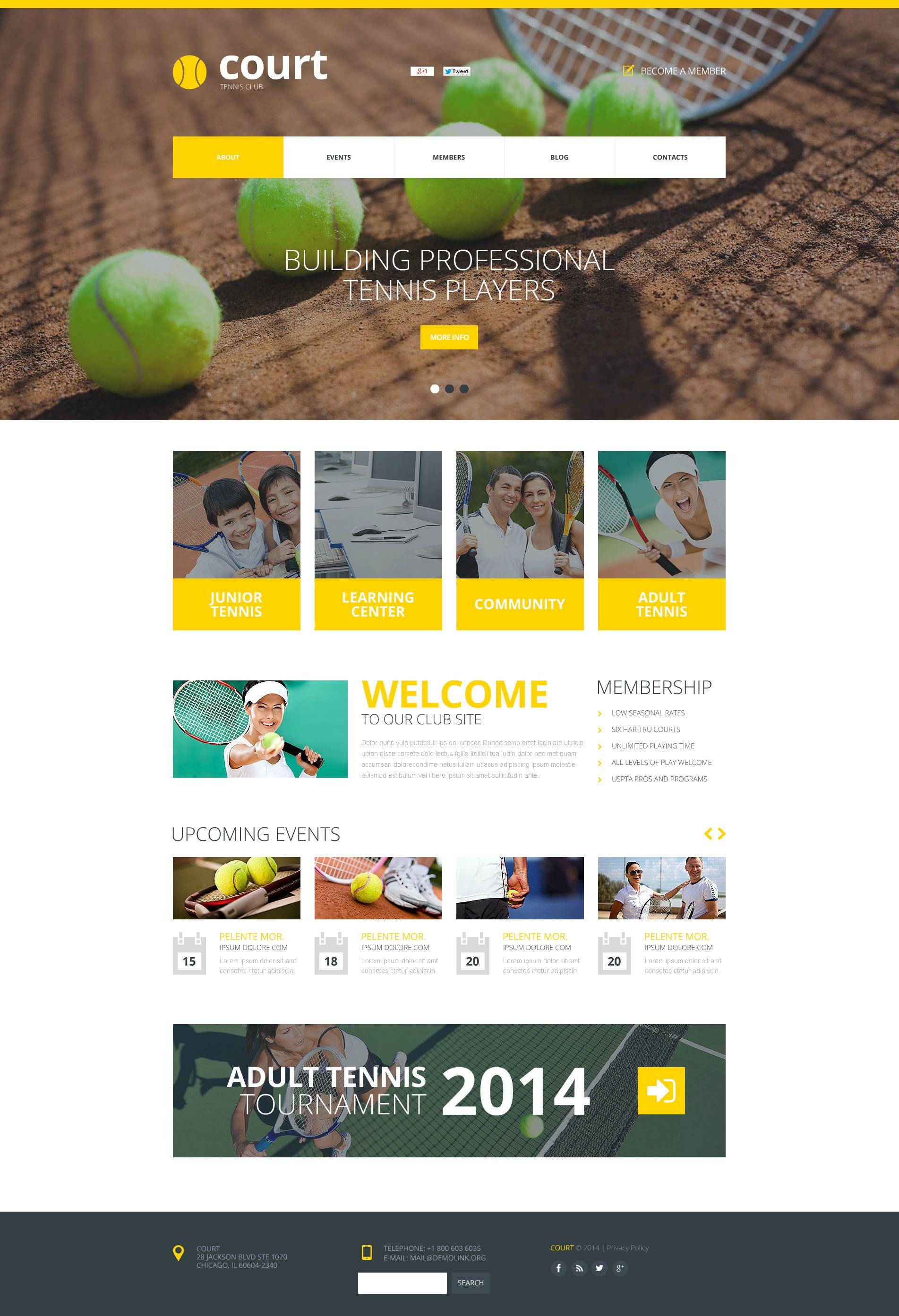 Modèle Flash CMS Premium pour site de tennis #50644 - screenshot